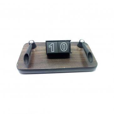 MARINE WOOD TABLE PEN STAND WITH DATE