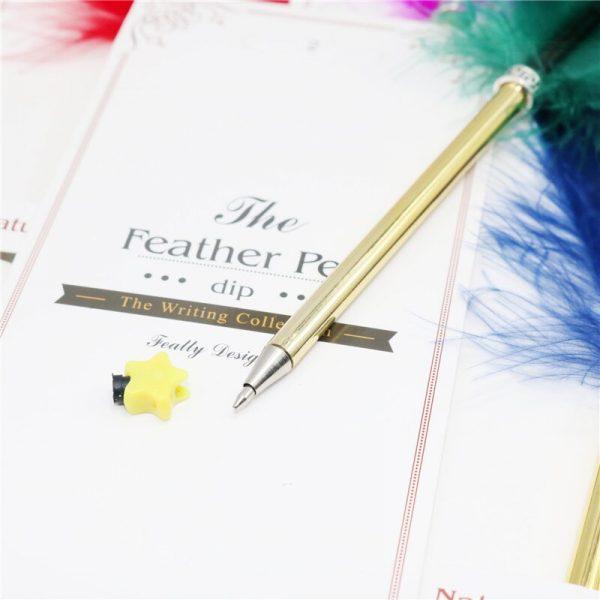 1 Pcs Feather ballpoint pen Creative spray gold feather pen ball Metal signature pen Brush Christmas gift Wedding signature pen
