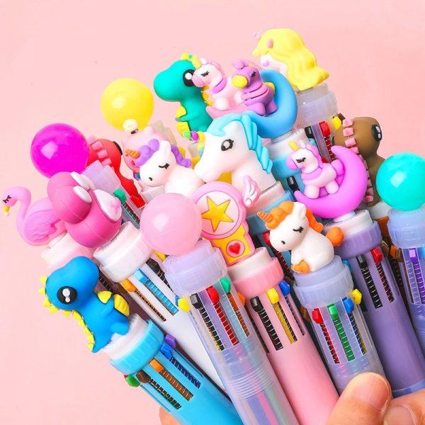 Ten Color Ballpoint Pen Kawaii Stationery Cute Pens Novelty Cute Kawaii Pen Student Writing Gel Pens Learning Office Supplies