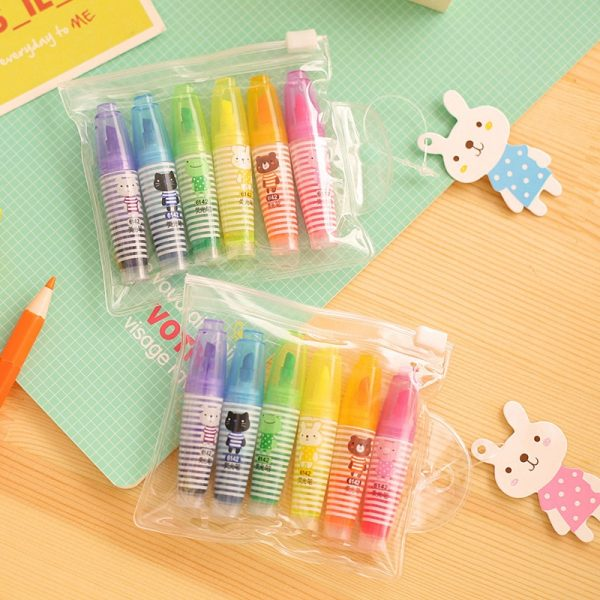 Set of 6 Cute Mini Highlighter Paint Marker Pen Drawing Liquid Chalk Stationery School Office Supply Promotional Gift