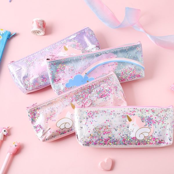 1 Pcs Kawaii Pencil Case Unicorn Wing Gift Estuches School Pencil Box Pencilcase Pencil Bag School Supplies Stationery