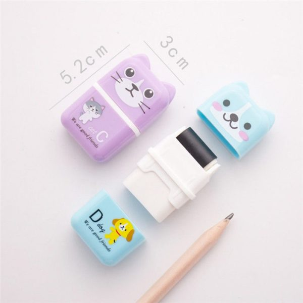 Cartoon Animal Pattern Rubber Eraser Rectangle Roller eraser pencil School Office Stationery Correction Supplies For Kids